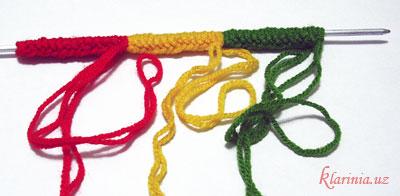 Растаманский шарфик - набрать петли