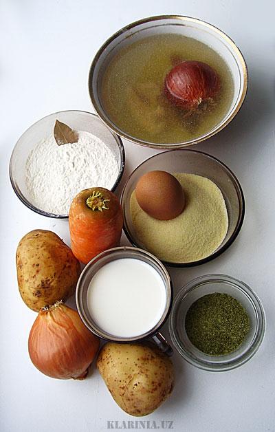 Суп с клецками: продукты, ингредиенты