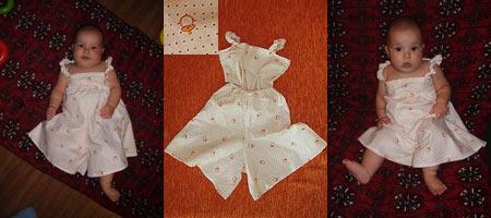 Юбка-брюки и маечка на лямках для девочки 5 месяцев
